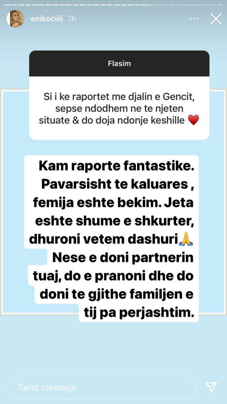 Eni Koçi flet për raportin që ka me djalin e Genc Prelvukajt