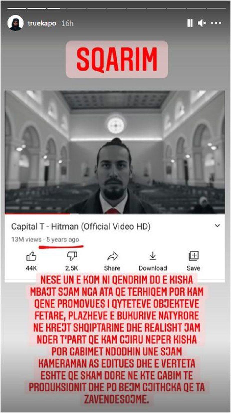 Capital T kritikohet për heqjen e kryqit në klip: Përgjigjet
