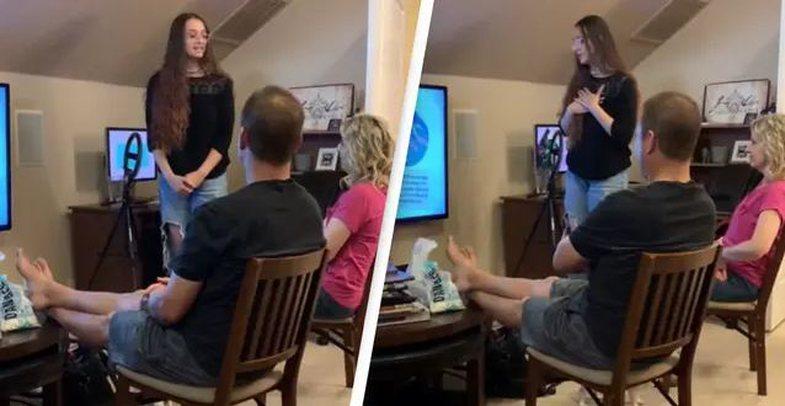 Kjo vajzë përdor PowerPoint për t'i zbuluar punën e saj